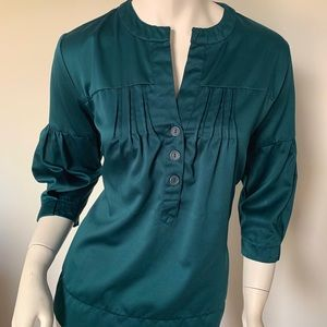 Oleg Cassini Emerald Blue Tunic Blouse Size Small